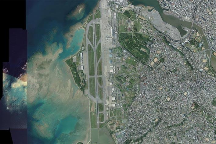 那覇空港周辺の航空地図(国土地理院より)。